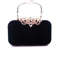 Rhinestone Crystal Diamond Fashion Luxury Velour Women Day Clutch Small Purse Bag With Shoulder Chain Handbag