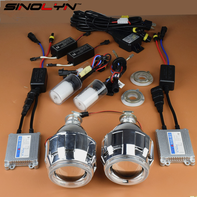 Car/ Motorcycle Styling 2.5 inches HID Bi xenon Lens Headlight Projector Kit With Angel Eyes Halo Headlamp Lenses Complete Kit