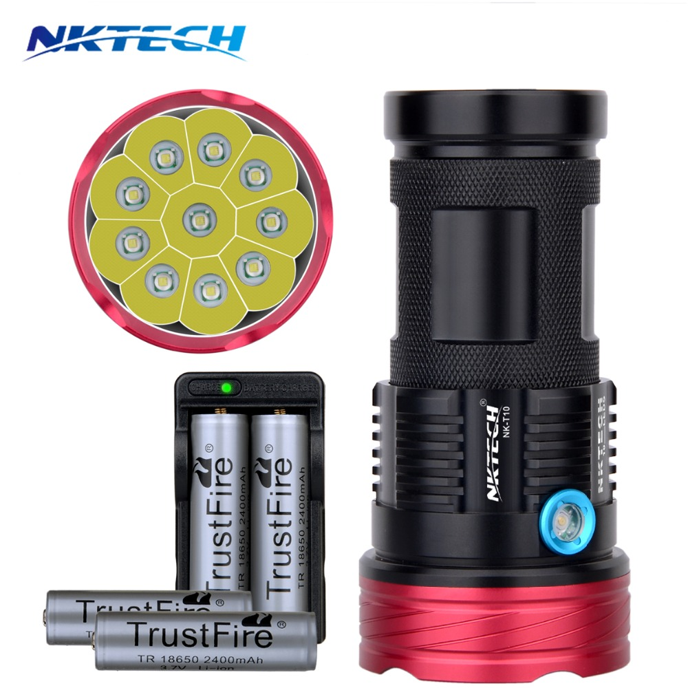 ФОТО NK-T10 10T6 Flashlight 18650 11000LM 10x CREE T6 waterproof recharger Torch light for 4x 18650 Battery Hiking/Hunti