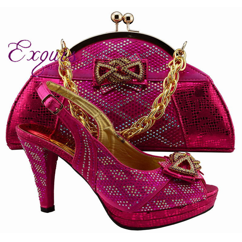 ФОТО 2016 fuchsia beautiful Italian design shoes with matching bags to match, African Shoes and matching bag sets for marriage GF46