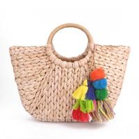 2019 quente saco feito à mão mulheres pompon praia tecelagem senhoras saco de palha envolto praia saco em forma de lua|straw bag|shaped bag|beach bag -