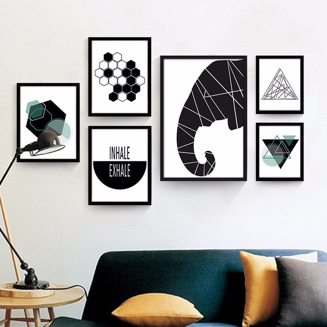 Best of HAOCHU Geometry Abstract Black Painting Modern Canvas Background Design Art Print Wall Picture Living Room Restaurant Simple - Amazing geometric wall designs with paint Awesome