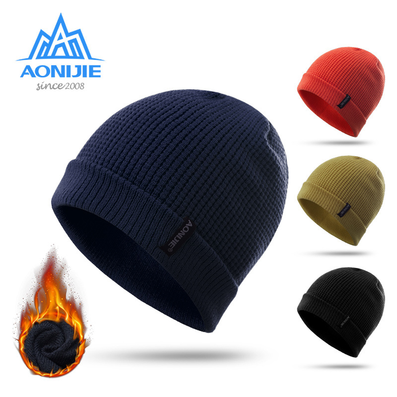 AONIJIE Winter Windproof Thick Warm Running Cap Winter Knitted Hats Snowboarding Cap Ski Running Caps Outdoor Sports female autumn and winter hats worn bonnet thick warm cap knitted caps women beanie cap