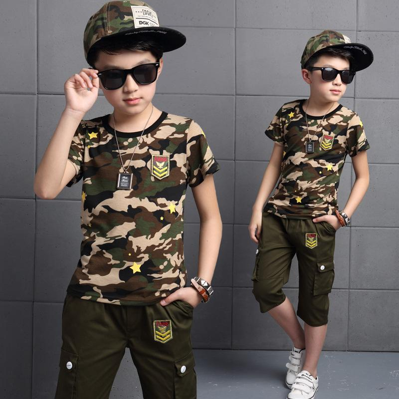 Childrens Boy Embroidered Military Style Camouflage Pants Sports Suit Short-Sleeved T-Shirt Tracksuit For Kids Boys Clothes