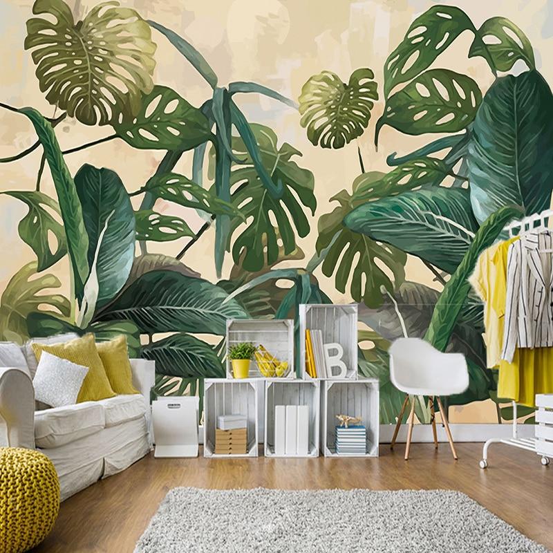 Kundenspezifische Wandtapete Tropischen Regen Wald Palm Bananenblatt Große  Wandbilder Malerei Tapeten Für Wohnzimmer Dekoration 3D