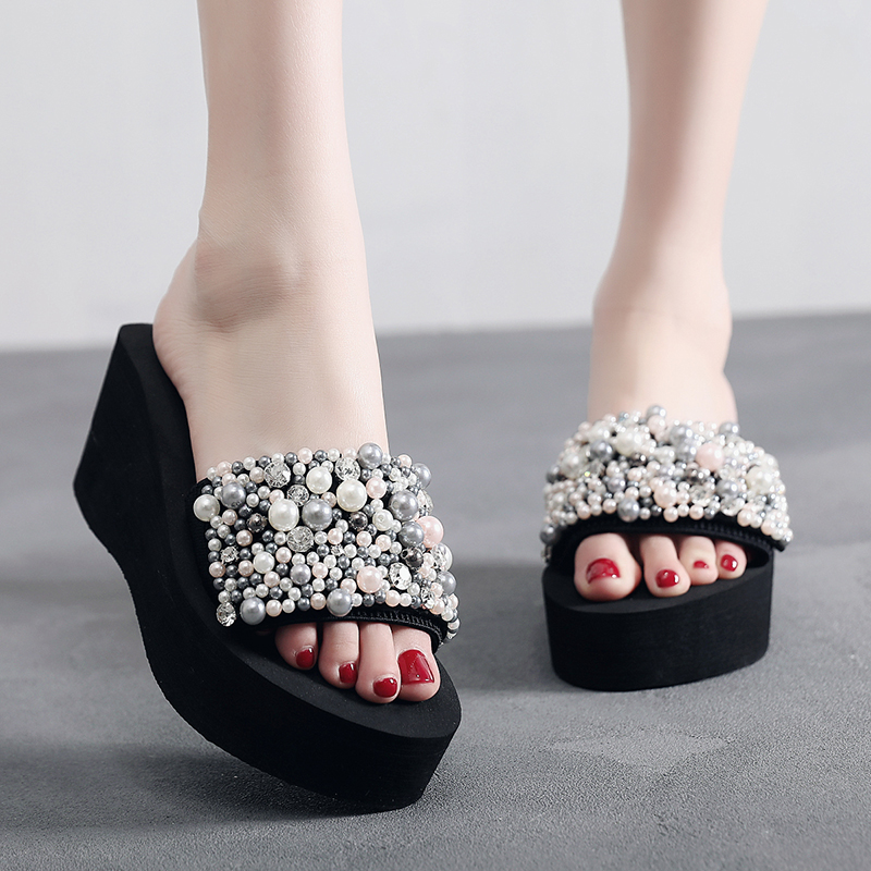 SHUJIN Pearls Slides Women Sandals Heel Slippers Torridity Sandal Shoes Handmade Bohemia Crystal Female Outdoor Shoes Slippers