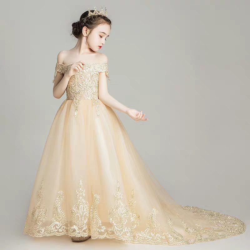 Children Girls Luxury Shoulderless Embroidery Lace Birthday Wedding Party Long Tail Dress Model Show Catwalk Host Prom DressChildren Girls Luxury Shoulderless Embroidery Lace Birthday Wedding Party Long Tail Dress Model Show Catwalk Host Prom Dress