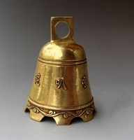 Collection Chinese Brass Carved Buddhism Six Word Ture Mantra Copper Bell Buddhism Bell Beautiful Decoration Statue