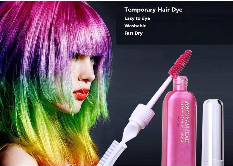3 keping warna rambut & TOUCH-UP mascara kapur-untuk-rambut-rambut 12 warna Pewarna rambut sementara tanpa toksik dengan sikat
