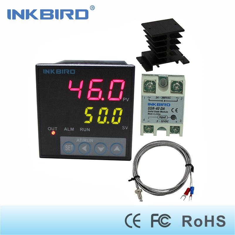 Inkbird ITC-106VH contrôleurs de température PID + capteur K + 40A SSR + dissipateur de chaleur, relais à semi-conducteurs pour Sous Vide, thermocouple k