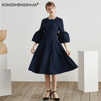 High Quality Vintage Blue Women Clothes Butterfly Sleeve Elegant Dress spring a line mid calf length ladies midi dresses