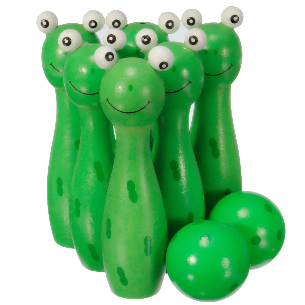 Wooden Bowling Ball Skittle Animal Shape Game For Kids Children Toy Green