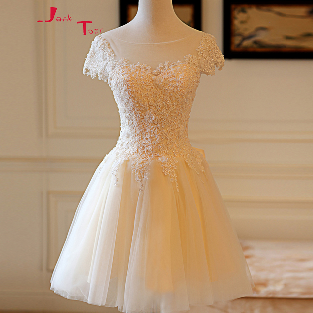 Jark Tozr Custom Made Short Sleeve Zipper Up Above Knee Party Gowns Robe Cocktail 2019 Appliques Beading Mini Bow Cocktail Dress