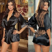Alishebuy New Black Sexy Silk Lace Kimono Dressing Gown Bath Robe Lingerie Nightdress Lingerie Nightwear Underwear