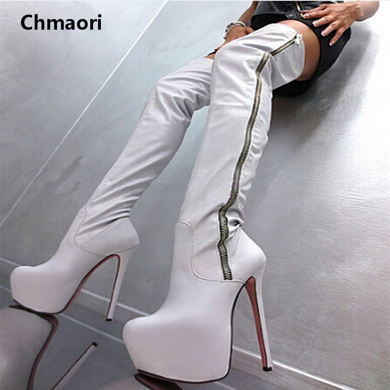 New Arrival Fashion Slim Thigh High Boots Sexy High Heels Women Platform Shoes Round Toe Zipper Over the Knee Botas Mujer fringe wedges thick heels bow knot casual shoes new arrival round toe fashion high heels boots 20170119