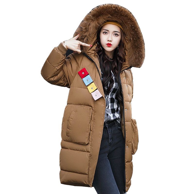 2017 New Winter Jacket Women Hooded Fur Collar Thicken Coat Female Warm Outwear Long Wadded Jacket Coat Cotton-Padded Parka 3L85 bjcjwf 2017 winter jacket women wadded long parkas female outerwear hooded coat cotton padded fur collar parka thicken warm 1pc