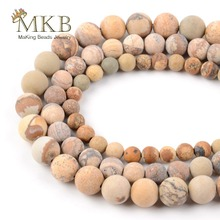 Dull Polish Matte Natural Picture Jaspers Stone Beads For Jewelry Making 6/8/10/12mm Round Diy Bracelet Necklace Wholesale