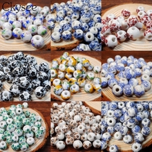Ckysee 50Pcs/lot Big Hole Ceramic Beads Handmade Flower Blue And White Porcelain 10mm For DIY Jewelry Making Accessories