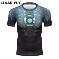 Green Lanter 3D Printed   T  -  shirts   Marvel Hero Men Compression   Shirt   Short Sleeve Crossfit Fitness Cloth Tops Male Cosplay Costume