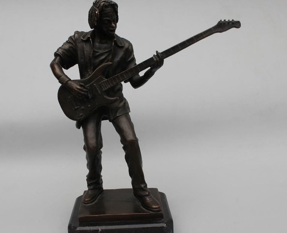 "12""Western Art sculpture Bronze Copper Marble Guitarist Guitar Boy Statue|statue marble|statue bronze|statue sculpture - title="
