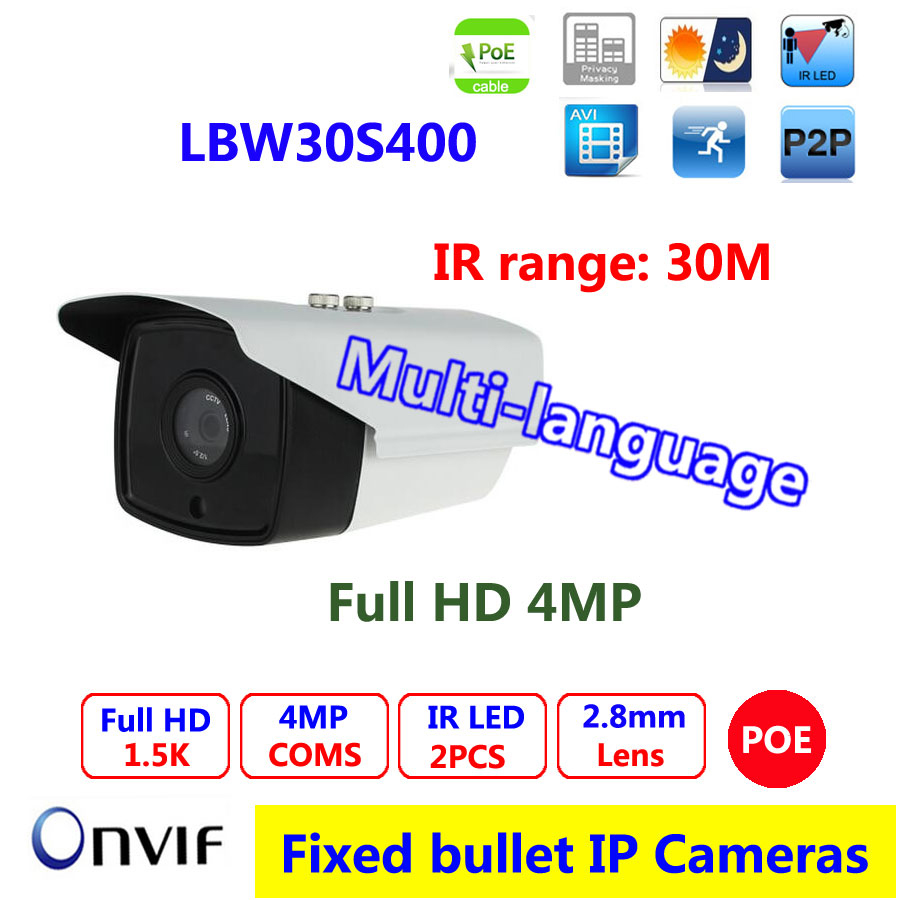 4mp IP Camera Board Lens 2.8mm with IR-Cut Array 2pcs LED IR Night Vision 30M Range POE Bullet Camera
