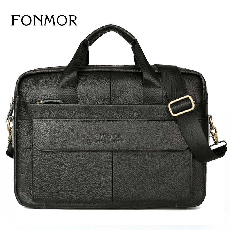 купить Brand Men Briefcase Genuine Leather Bags Handbags Office Bags for Mens Shoulder Bag Men Leather Laptop Bag Briefcases по цене 2472.39 рублей
