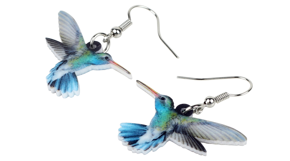 Bonsny Acrylic Flying Voilet Sabrewing Hummingbird Bird Earrings Big Long Dangle Drop Fashion Animal Jewelry For Women Girls Kid 2