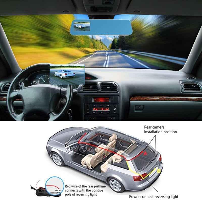 Cámara Dvr para coche de 4,3 pulgadas espejo retrovisor Full HD 1080P Dash Cam doble lente videocámara