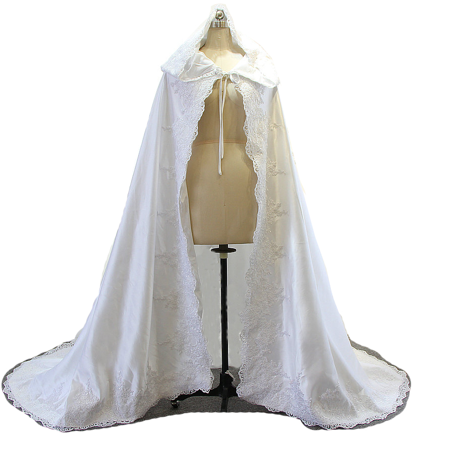 Child White Ivory Wedding Cloak Cape Hooded with Lace Appliques Satin Beaded Long Train Halloween Bridal Cloak For Christmas lace see thru cloak top