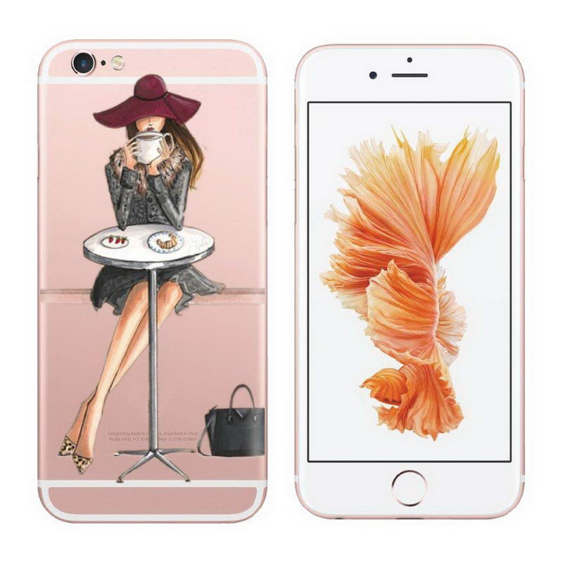 hot sale online 32f09 633ae US $1.9 |Coque For Iphone 6 Fashionable Dress Shopping Girl Phone Cover For  Iphone 6 6s Case Clear Transparent Soft Silicone Rubber Case-in Flip Cases  ...