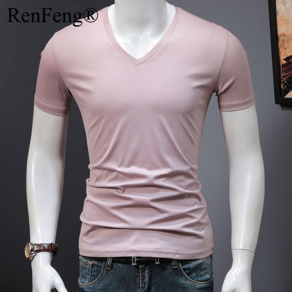Man's Plain Ice Silk Seamless Underwear Seamless V-neck blank t shirt Men Clothes Comfortable Mens White Undershirts (17)