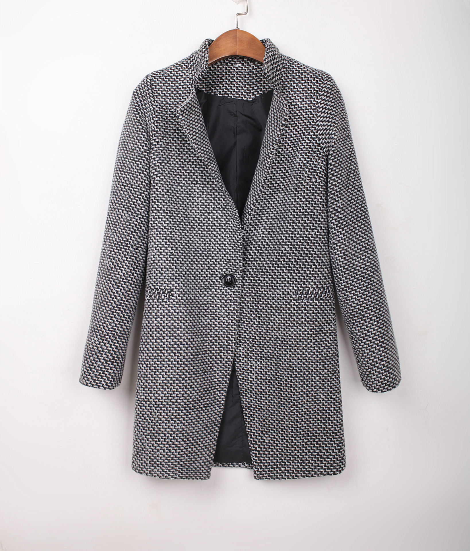2ee3bf41f8e Plus Size S-4XL Top quality low price Women Grey Tweed Long Sleeve Single  Button wool overcoat Trench Coat Jacket abrigos mujer