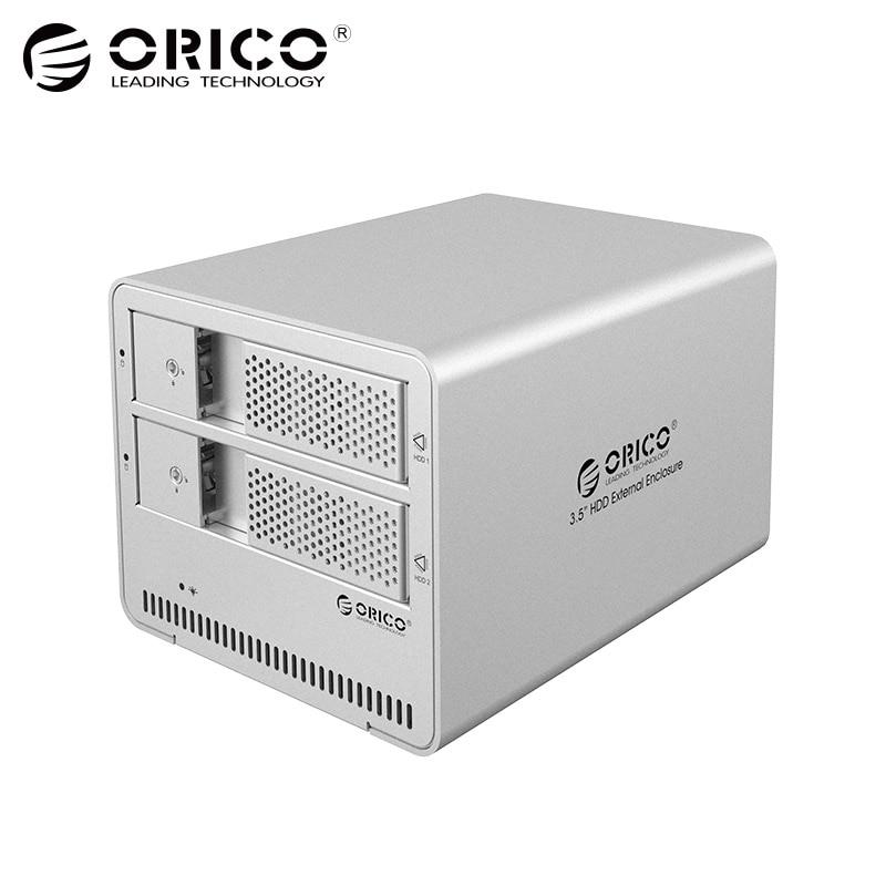 ORICO 9528U3 Silver 2bay sata hdd docking station with USB3.0 hot plug disk drive enclosure for PC laptop внешний контейнер для hdd 2x3 5 sata orico 9528u3 usb3 0 серебристый
