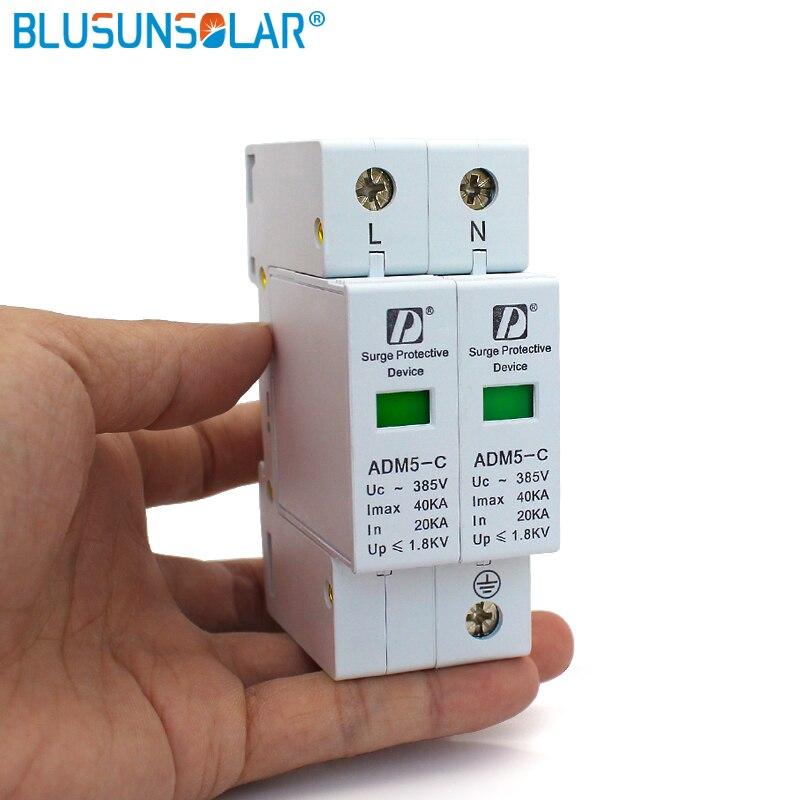 50 pieces lot High Quality 20 40kA 2P1 385V AC Din Rail SPD Low Voltage Surge