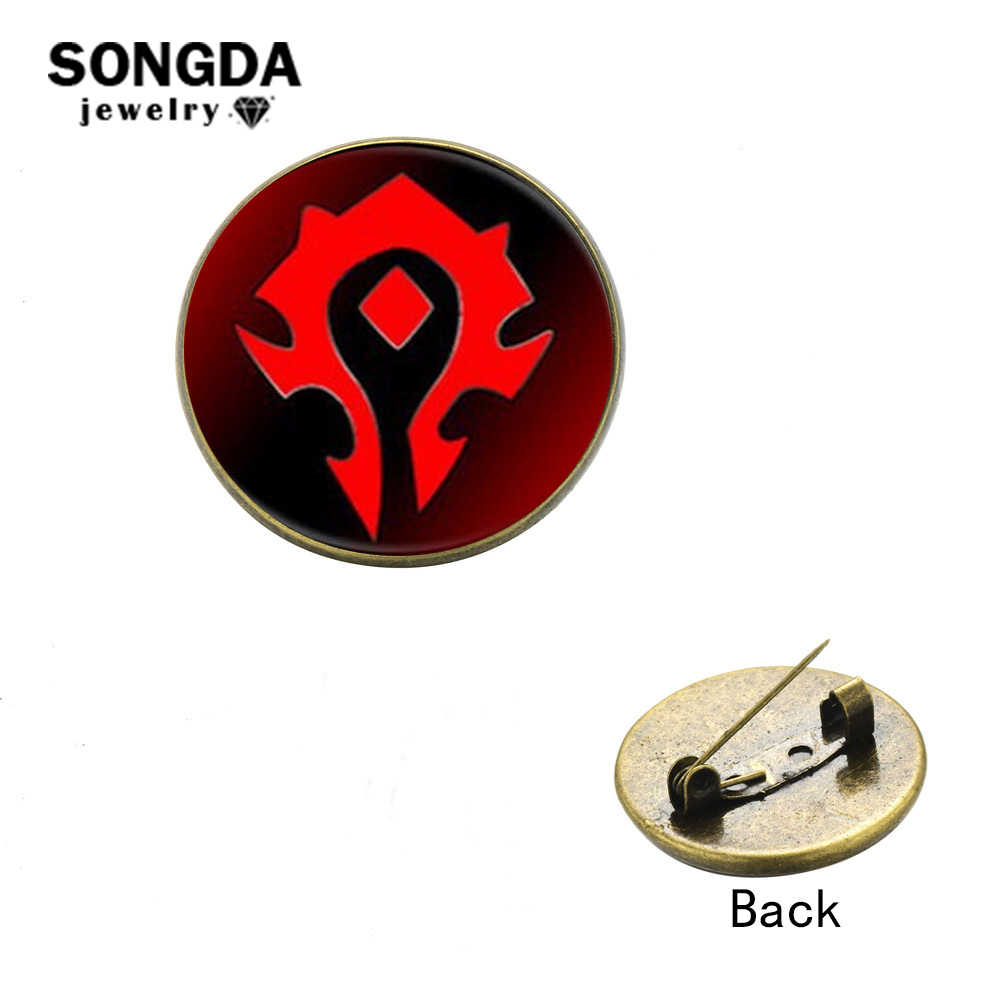 Songda Hot Jual Wow Gerombolan Kerah Pin Tombol World Of Warcraft Suku Aliansi Lencana Retro Perunggu Trendi Silver 2 Warna pilih