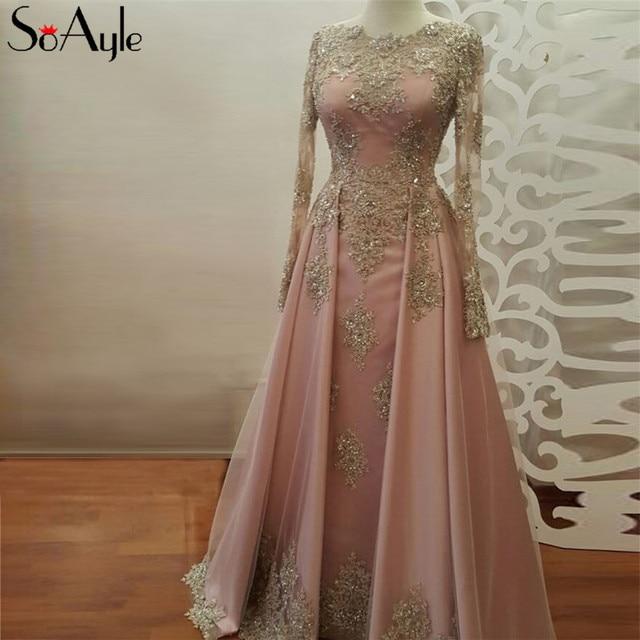 SoAyle Long Sleeves Prom Dresses A-Line Lace Applique Beading Long Formal  Dress Muslim Dresses Dubai Vintage Gold Lace Dress 6da62c1cf6d5