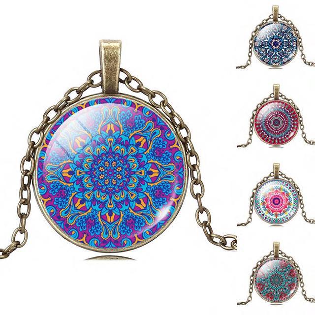 Jóias OM Símbolo Índia Mandala Flor de Colar Zen budismo Imagem Vidro Cabochão Pingente Gargantilha Colar De Jóias de Vidro