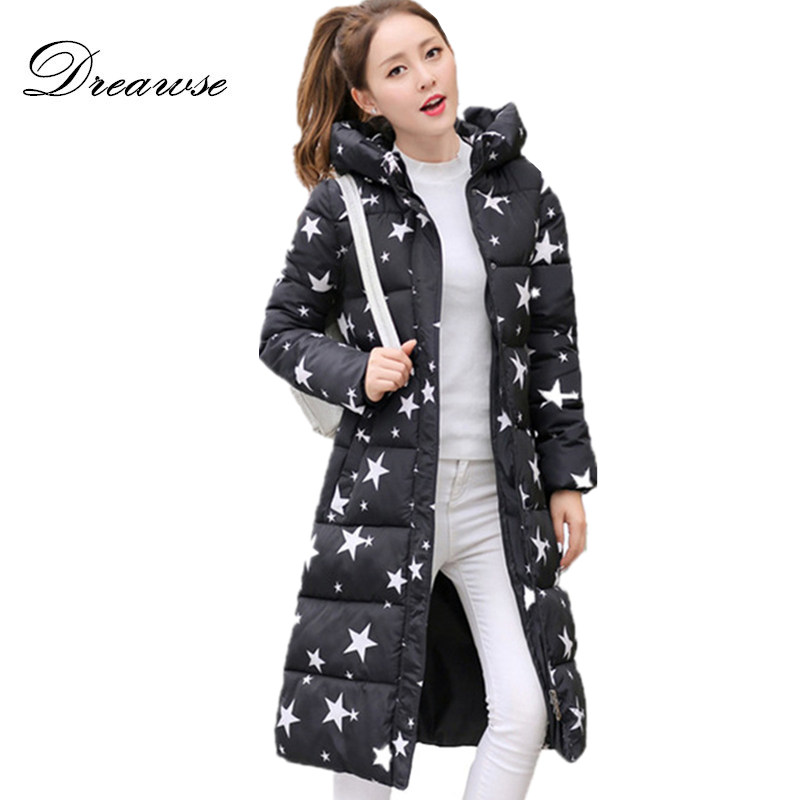 Dreawse Winter Women Printing Jacket Plus Size Casaco De Clothes Warm Long   Parkas   Female Hooded Mujer Jaqueta Casual Coat MZ905