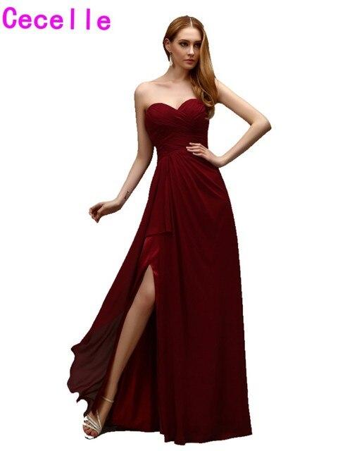 2019 Real Simple Long Burgunday Chiffon Evening Dresses Sweetheart Sexy Split Chiffon Floow Length Simple Women Formal Wear