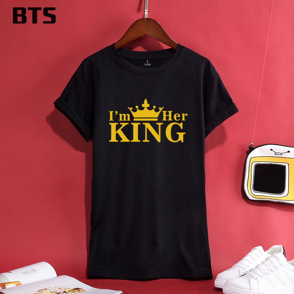 BTS KING QUEEN Funny Tshirt Plus Size Casual Female Loose Streetwear Fashion T-shirts Women Summer Style Short Sleeve Casual