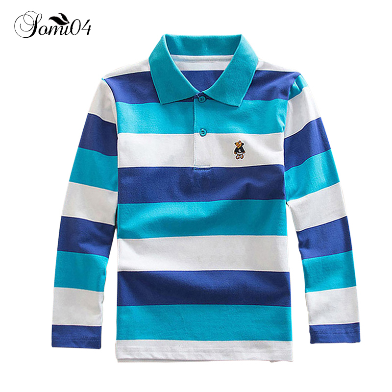 цена на Long Sleeve Polo Shirts for Boys School 2018 Spring Autumn Kids Children Colorful Stripe Polo Shirt Casual Clothes for 2-15 Year