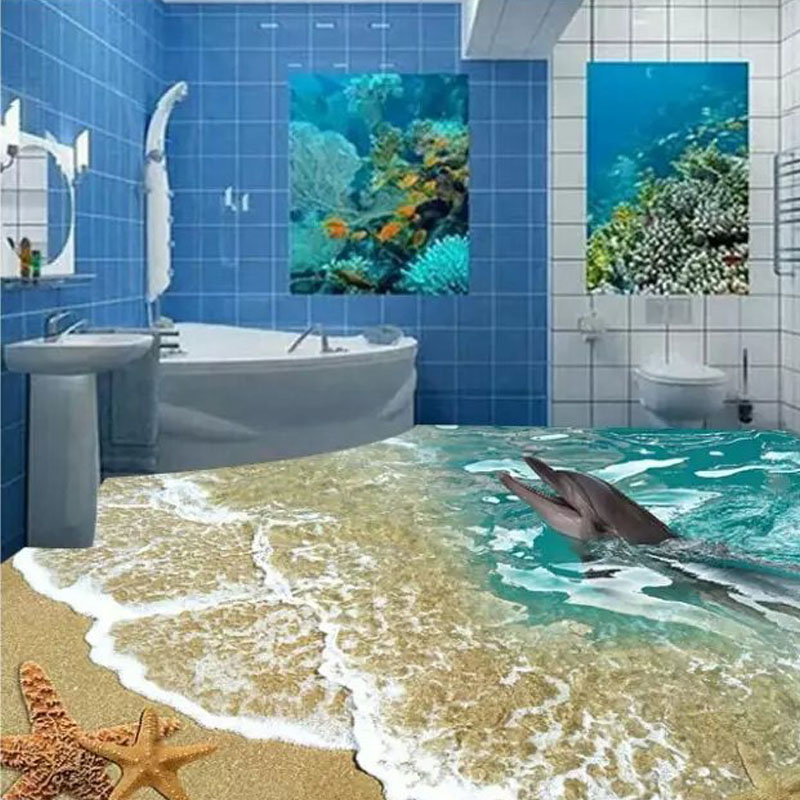 Custome 3d floor tiles sea toilet 80x80cm bathroom wall ...