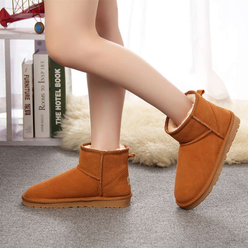MBR Brand Women Snow Boots 100% Genuine Cowhide Leather Ankle Boots Warm Waterproof Winter Boots Woman Shoes large size 34-44 large size 34 40 2016 fall women ankle boots cowhide soft leather flower genuine leather women short boots flat with shoes lady