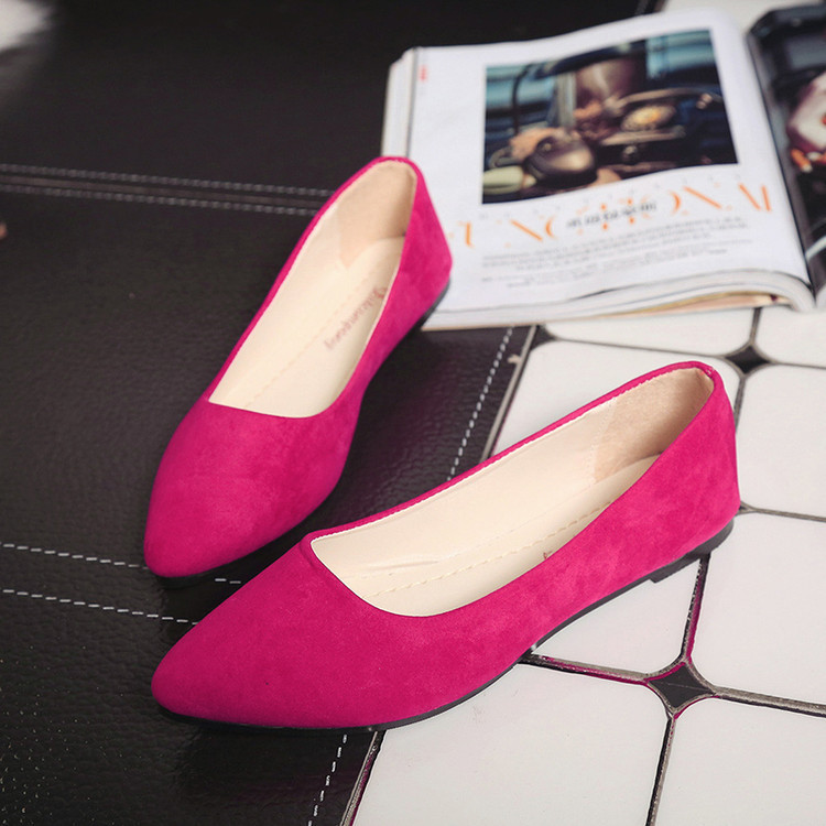 Women Shallow Single Shoes Casual Pointed Toe   Suede     Leather   Flat Shoes Summer Autumn Candy Colors Soft Loafers Lazy Boat Flats