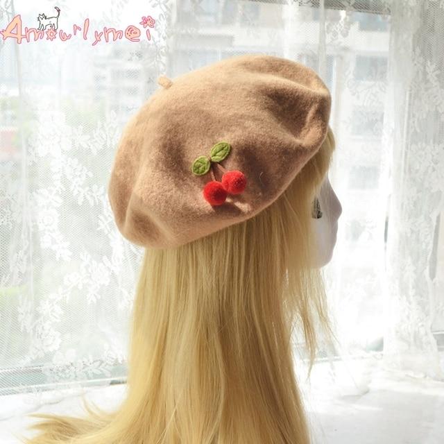 90dedebd4e260 Amourlymei Hot Sale 16 Colors Japanese Style Mori Girl Lolita Kawaii Cherry  Wool Beret Hat For Women Winter Warm Sweet Cute Hats