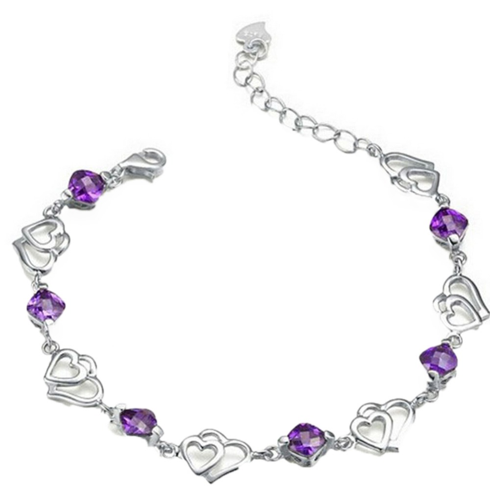 Trendy Charming Jewelry Cute Purple Crystal Rhinestones Double Heart-shaped Women Bracelet Silver Plated