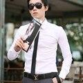Мужчины Camisa Социальной Masculina Белая Рубашка Большого Размера С Длинным Рукавом Slim Fit облегающие Кардиган Офисный Работник Кнопку Сорочка Homme