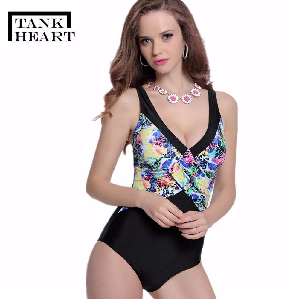 Tank Heart Print Plus Size Swimwear Women One Piece Swimsuit Sexy Bodysuit trikini Monokini Swimming Suit maio feminino praia plus size scalloped backless one piece swimsuit
