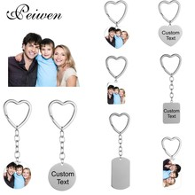 Stainless Steel Custom Photo Name Date KeyChain Personalized DIY Engrave Round ID Dog Tag Heart Key Ring Charm Pendant Chain