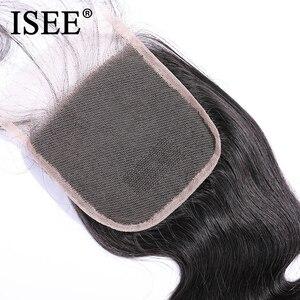 """Image 5 - ISEE włosów brazylijski ciało fala bez zapięć część szwajcarski zamknięcie koronki 4 """"x 4"""" 100% Remy ludzki włos darmowa wysyłka natura kolor"""